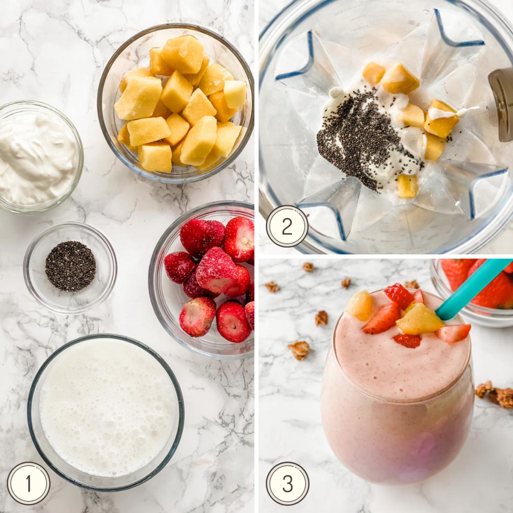 collage étape par étape pour faire un smoothie fraise et mangue